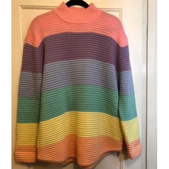 70f9003cfb4 UNIF Oversized Pastel Rainbow Color Block Sweater.  M 5c672528aa877021b19df988